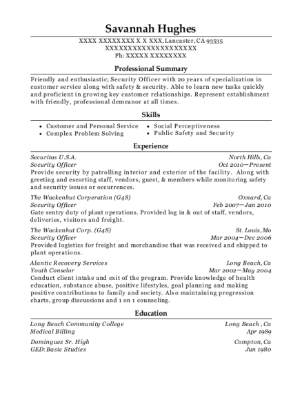 Security Officer resume example California