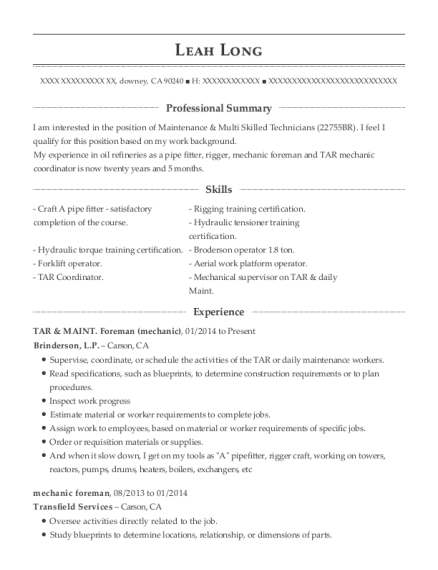TAR & MAINT Foreman resume example California
