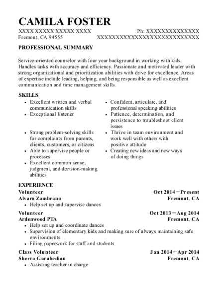 Volunteer resume sample California