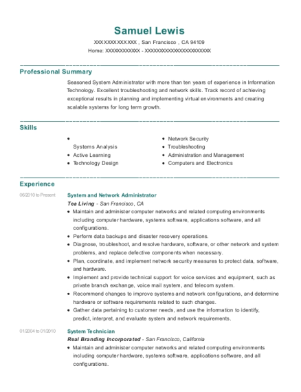 System and Network Administrator resume format California