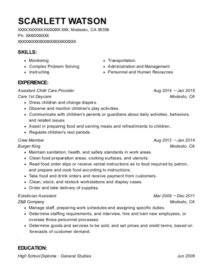 Assistant Child Care Provider resume example California