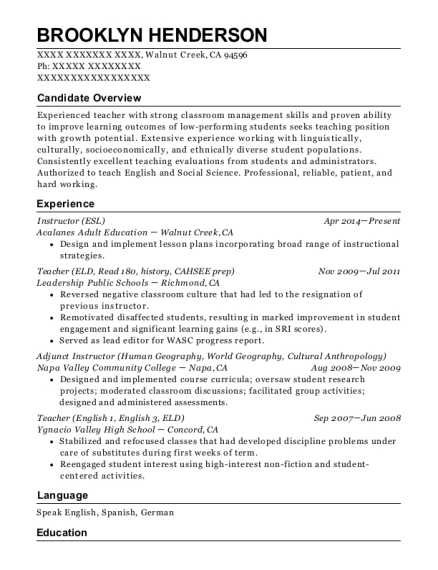 Instructor resume example California