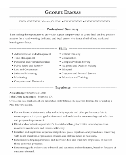 Area Manager resume example California