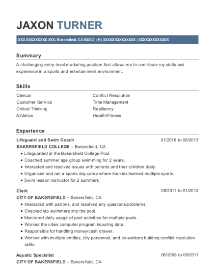 Lifeguard and Swim Coach resume sample California