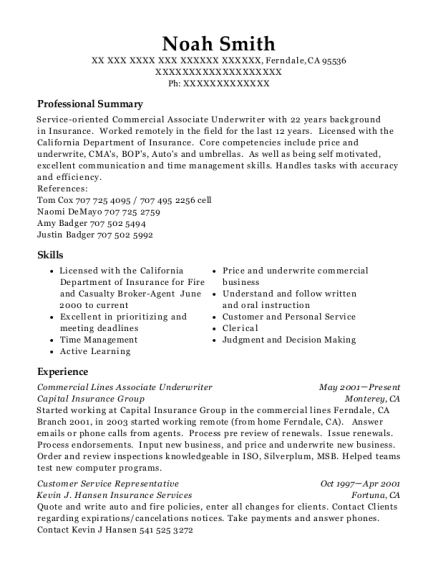 Commercial Lines Associate Underwriter resume sample California