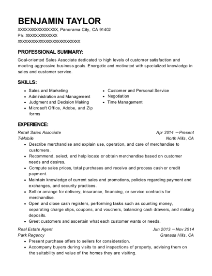 Retail Sales Associate resume format California