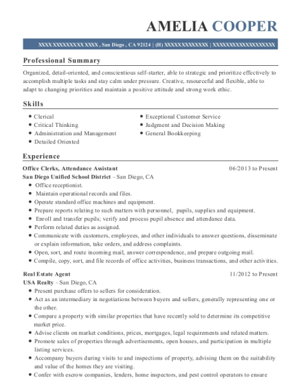 Office Clerks resume template California
