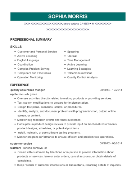 quality assurence manger resume template California