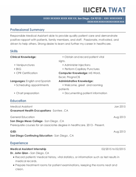Medical Assistant Internship resume format California