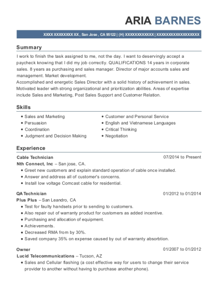 centurylink cable technician resume sample