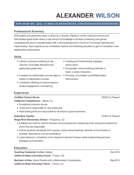 Certified Trainer resume format California
