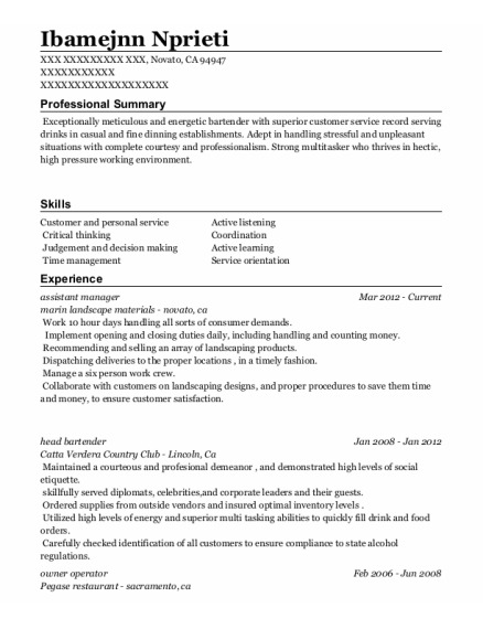 Assistant Manager resume example California