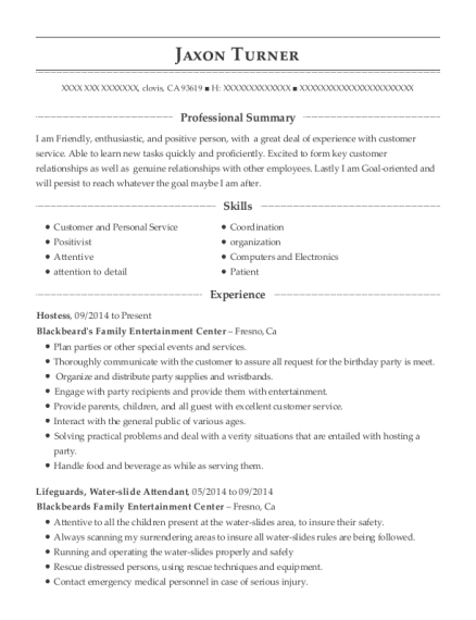 Hostess resume template California
