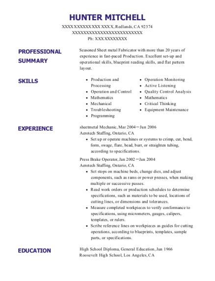 sheetmetal Mechanic resume example California