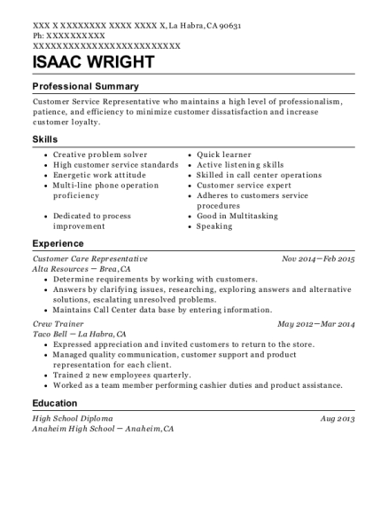 Customer Care Representative resume example California