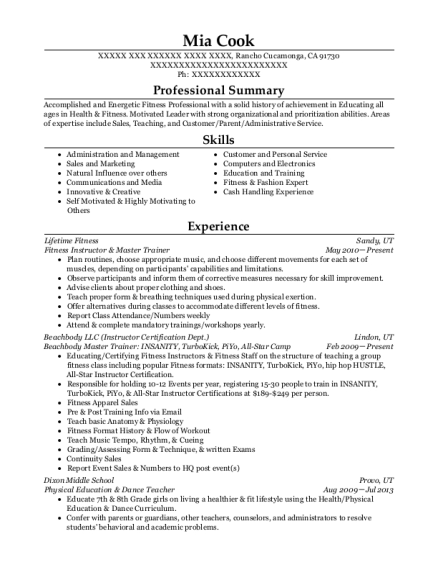 Fitness Instructor & Master Trainer resume format California