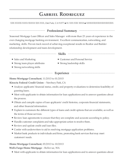 Home Mortgage Consultant resume example California