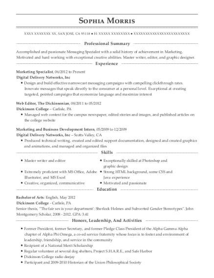 Marketing Specialist resume example California