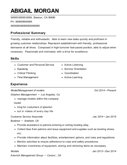 Model resume sample California