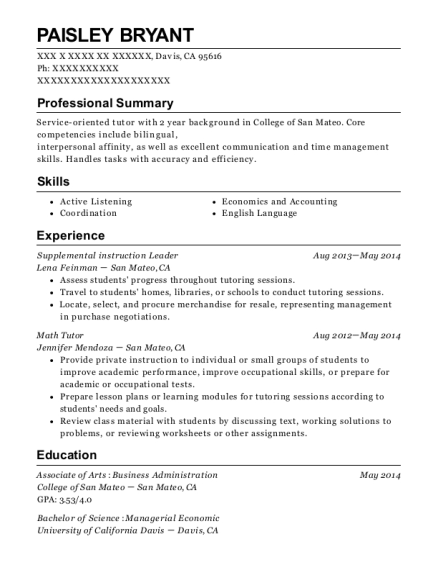 ucf sarc supplemental instruction leader resume sample