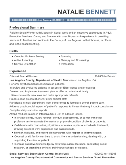 Clinical Social Worker resume format California