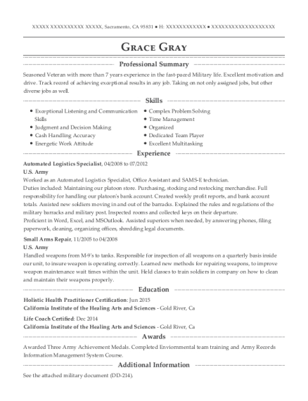 Automated Logistics Specialist resume example California