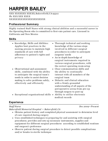 Staff Nurse resume format California
