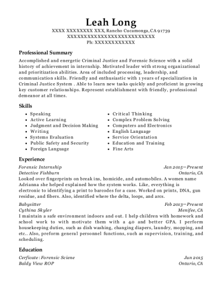 Forensic Internship resume sample California