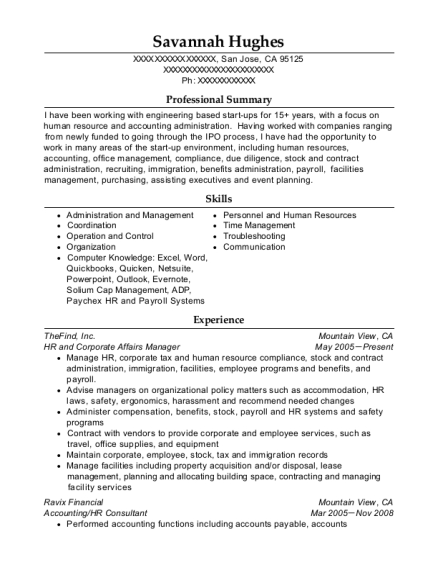 HR and Corporate Affairs Manager resume example California