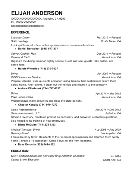 Logistics Driver resume format California