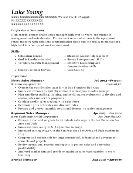 Metro Sales Manager resume sample California