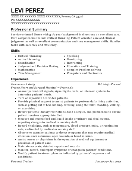 Extern work study resume example California