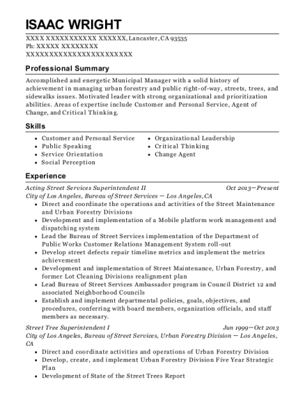 Acting Street Services Superintendent II resume template California