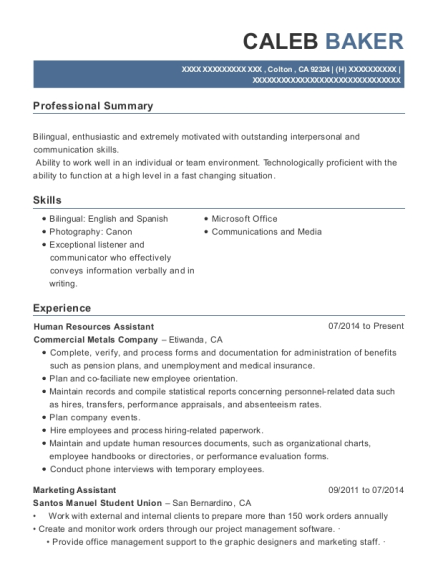 Human Resources Assistant resume template California