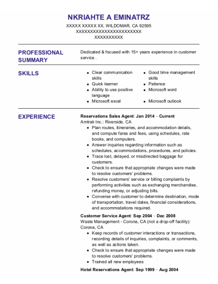 Reservations Sales Agent resume example California