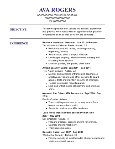 Personal Assistant resume example California