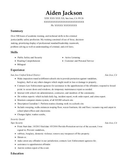 Security Guard resume format California