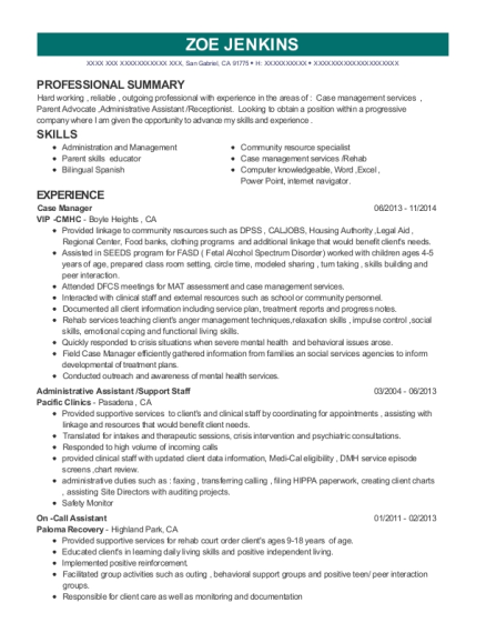 Case Manager resume template California
