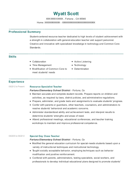 Resource Specialist Teacher resume sample California