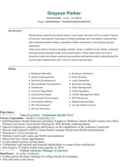 Sales Executive Population Health West resume template California