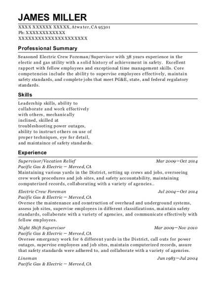 Supervisor resume sample California