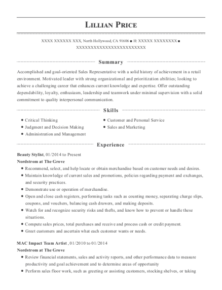 Beauty Stylist resume format California