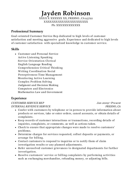 CUSTOMER SERVICE REP resume template California