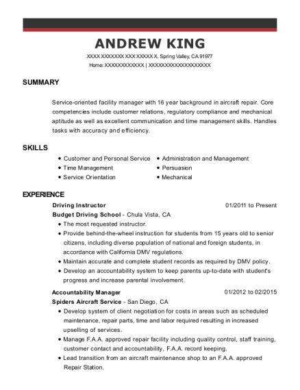 Driving Instructor resume template California