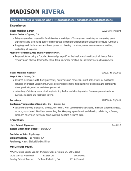 Team Member & MBA resume example California
