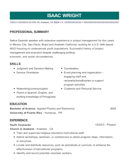 Youth Counselor resume example California