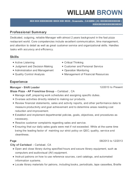 Manager Shift Leader resume format California
