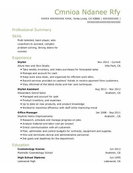 Stylist resume example California