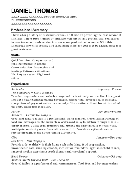 Bartender resume sample California