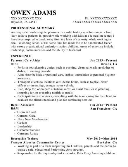 Personal Care Aides resume format California